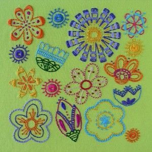 Bloom flower embroidery pattern cover