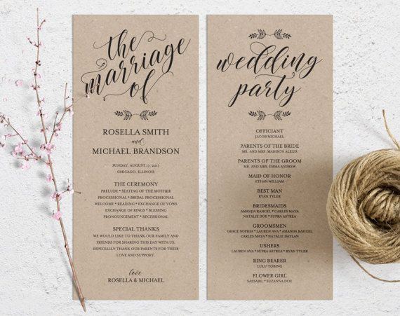 Rustic Wedding Program Template Wedding Ceremony Program  Wedding