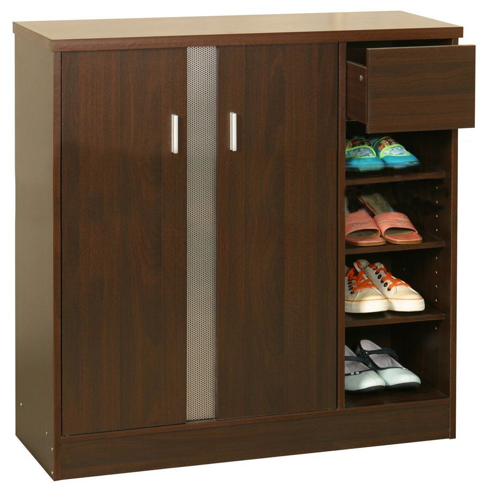 Simple elegant wooden shoe rack cupboard design for Cupboard cabinet designs