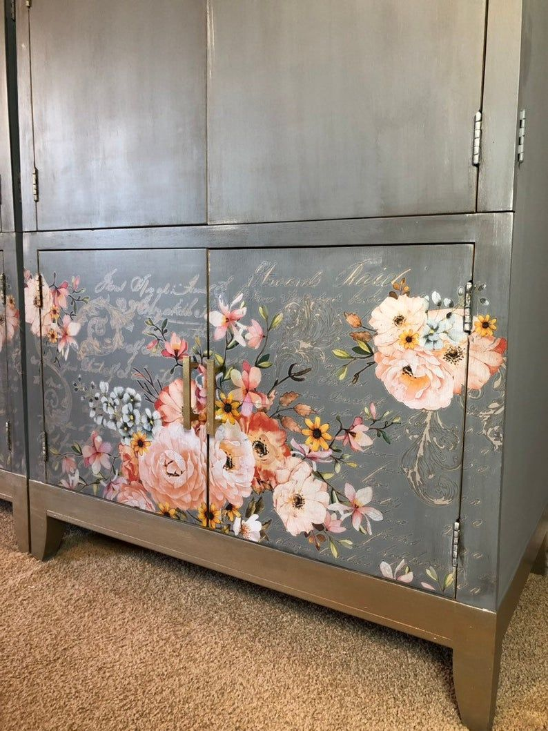 Armoire Double Armoire Twin Armoires Vintage Transfers Etsy In 2020 Furniture Painted Wardrobe Painted Furniture