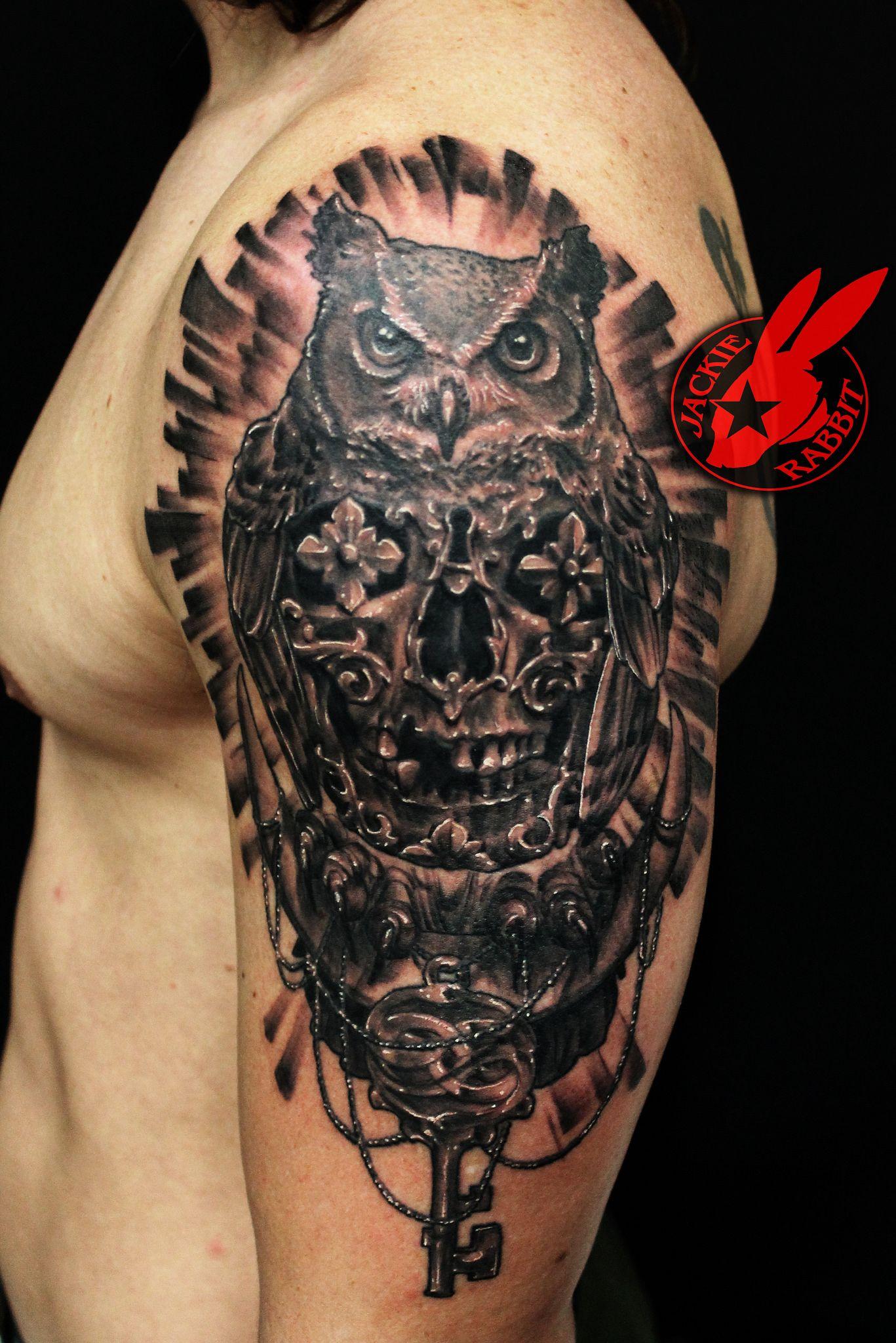 Owl Sugar Skull moon Key tattoo by Jackie Rabbit Tattoos