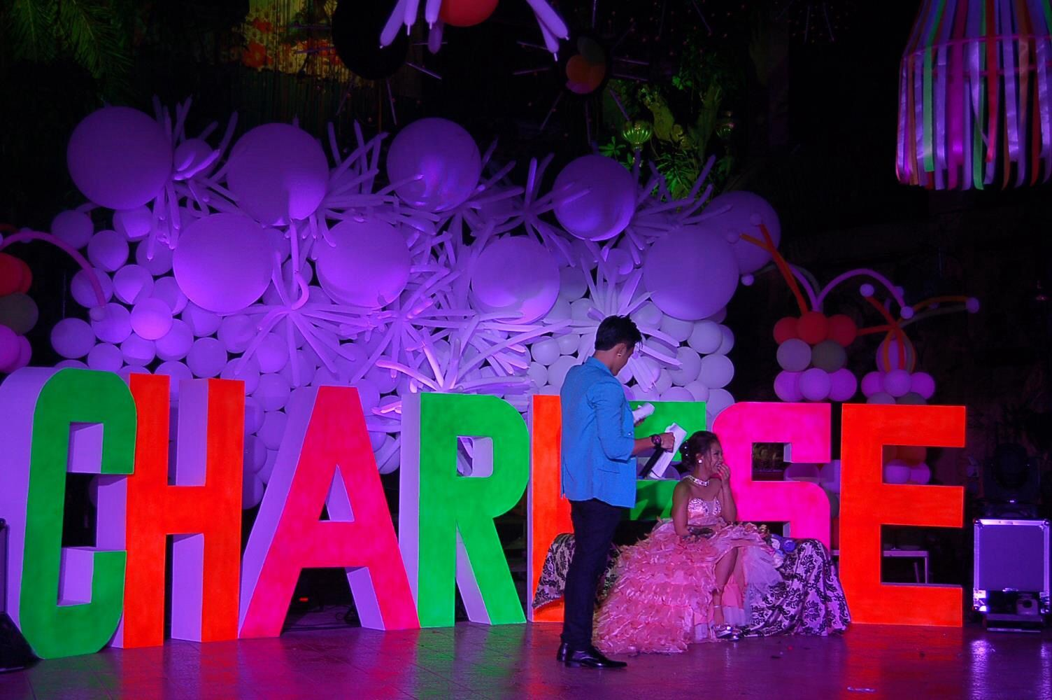 neon theme party debut 18thbirthday 6ftletterstandee