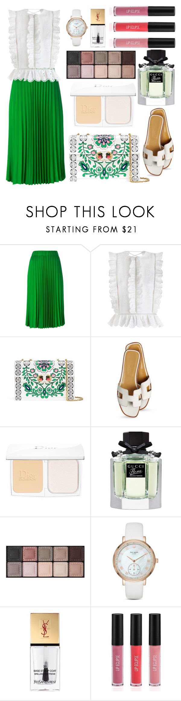 """""""Untitled #469"""" by ngkhhuynstyle ❤ liked on Polyvore featuring P.A.R.O.S.H., Zimmermann, Tory Burch, Hermès, Christian Dior, Gucci, By Terry, Kate Spade, Yves Saint Laurent and Sigma"""