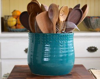 Extra Large Kitchen Utensil Holder Aqua Mist Hand Thrown Vase Modern Home Decor Made To O Kitchen Utensil Holder Kitchen Utensils Design Large Utensils