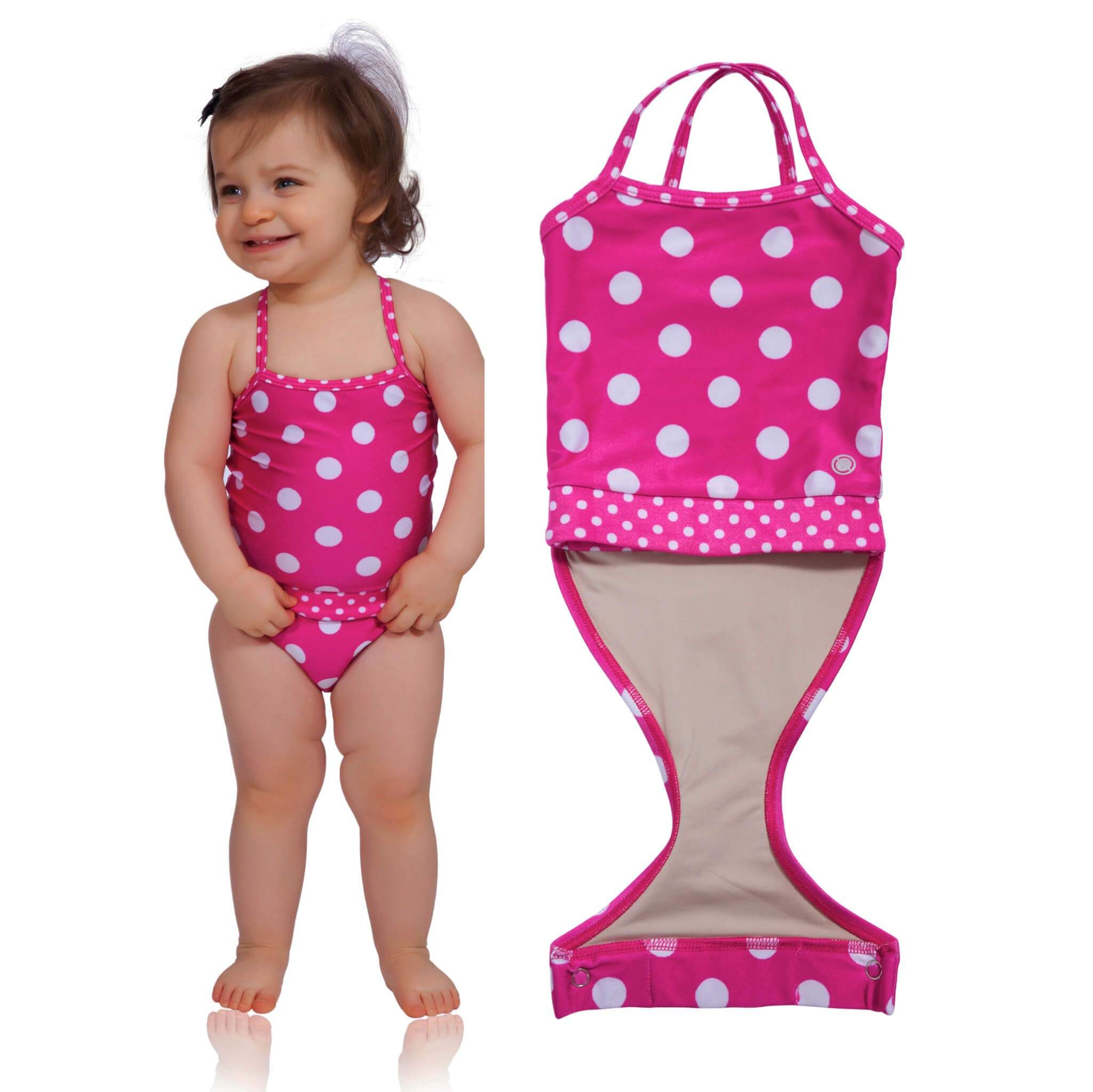 56274eb144 Watermelon Polka Dot baby girl swimsuit by FASTEN. Features patented design  that opens at the