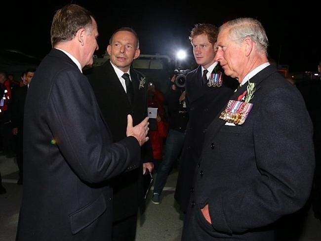 Paying their respects australian prime minister tony abbott and australian prime minister tony abbott and new zealand prime minister john key greet prince charles and prince harry before the 100th anniversary anzac day m4hsunfo