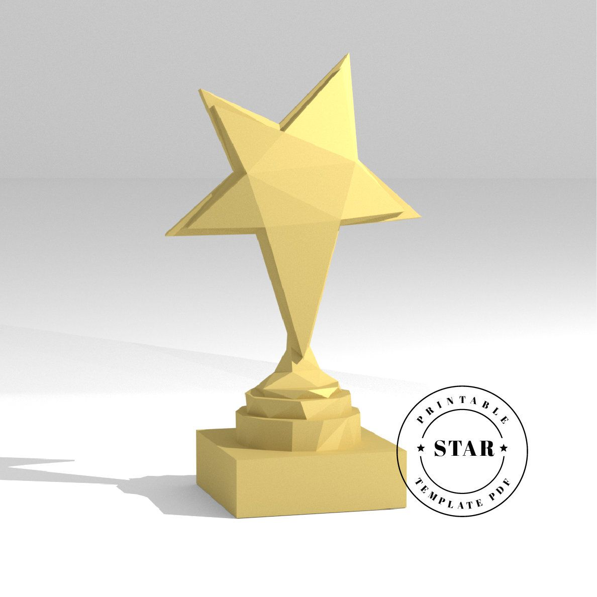 Sports Trophy Star Low Poly Paper Model Template
