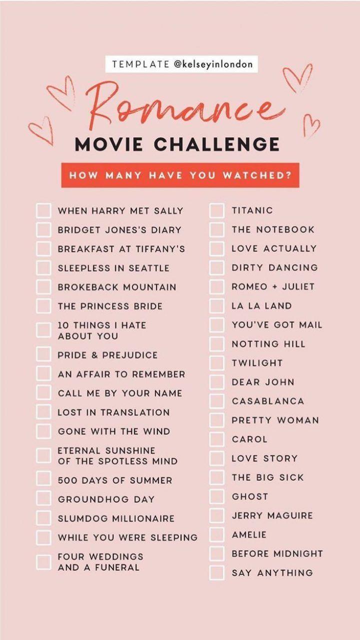 Romance Movie Challenge-Checkliste von Kelseyinlondon Wie viele haben Sie gesehen? | Perfektes Haar |