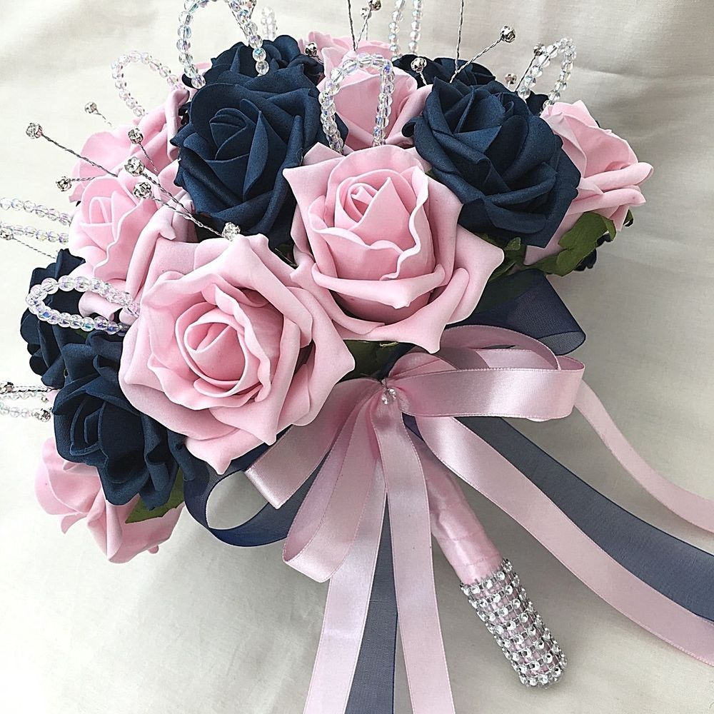 brides posy bouquet, navy blue & baby pink roses, artificial