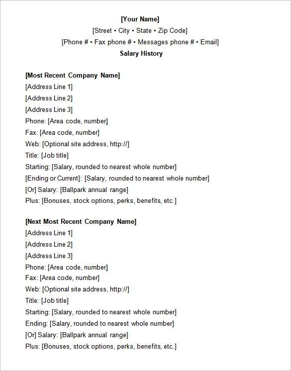 12 Free Printable Salary Templates Word Excel Pdf Hr Samples Job Resume Format Job Resume Samples Resume Format