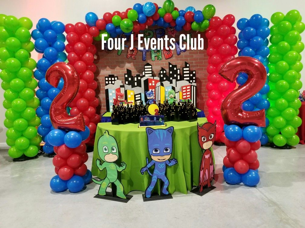 PJ Mask Decoration indoor party place. www.fourjparty.com ...