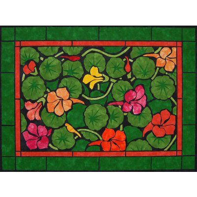 Nastursiums - Jewel Mixed inspired this 'Garden Jewels' quilt pattern http://www.victorianaquiltdesigns.com/VictorianaQuilters/PatternPage/GardenJewels/GardenJewels.htm #quilting