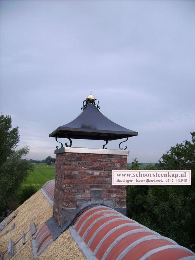 schoorsteenkap geheel rvs voorzien van zwaar messing bol met kroon ...