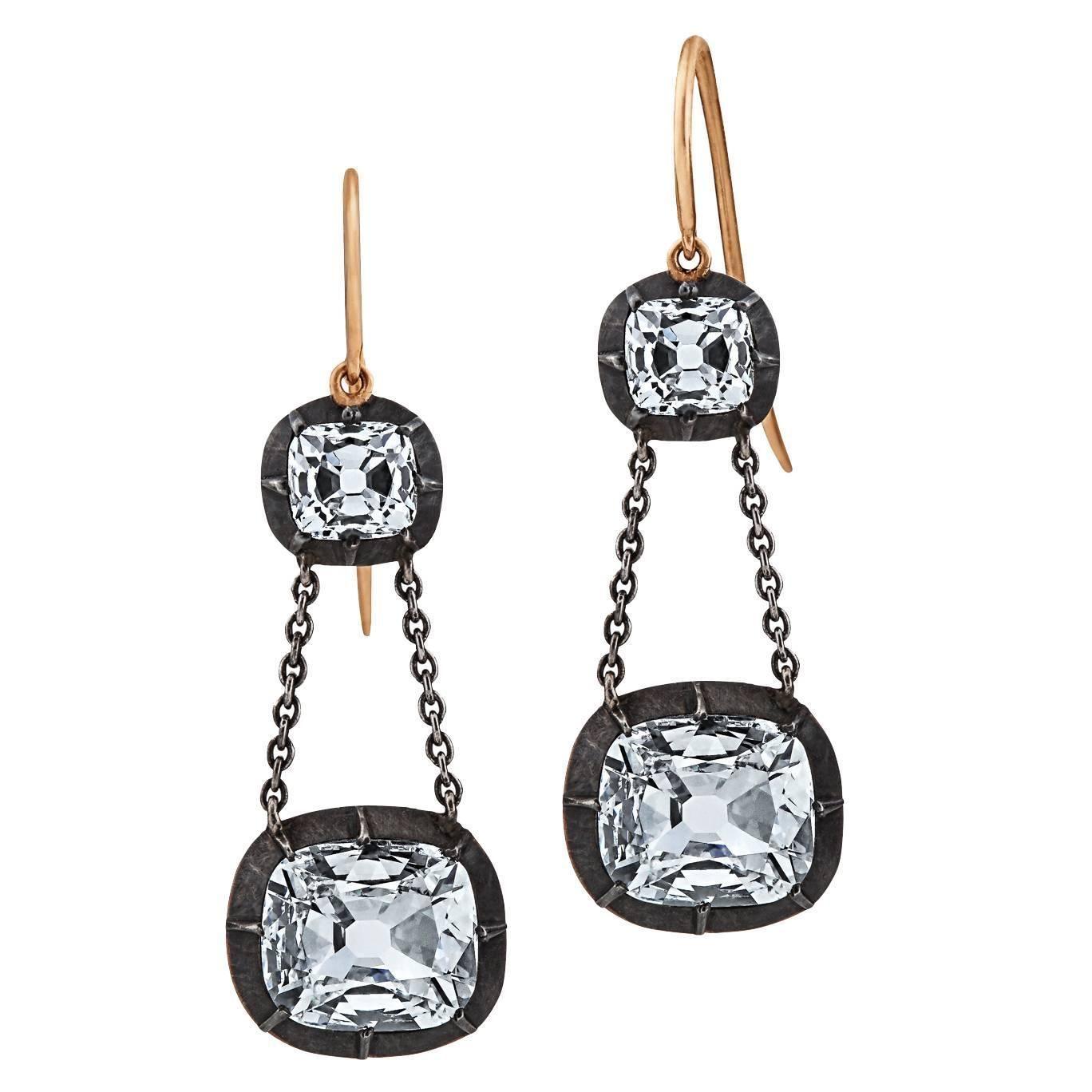 Cushion Cut Diamond Silver Gold Drop Earrings