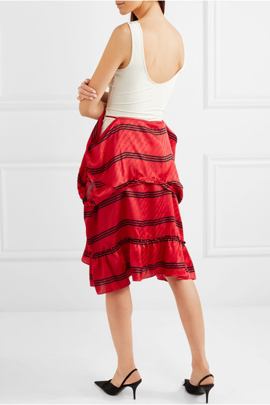 Convertible Lace-trimmed Stretch-jersey And Striped Silk Dress - Red Balenciaga
