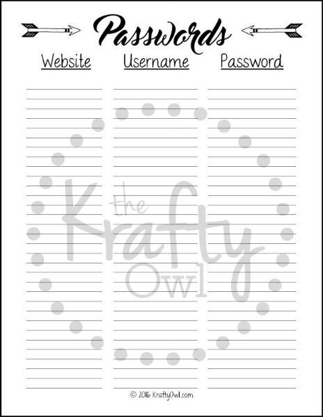 password log printable