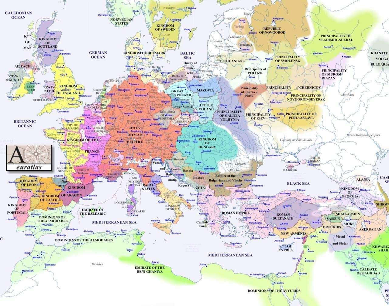 1240 Politicheskaya Karta Evropy Karta