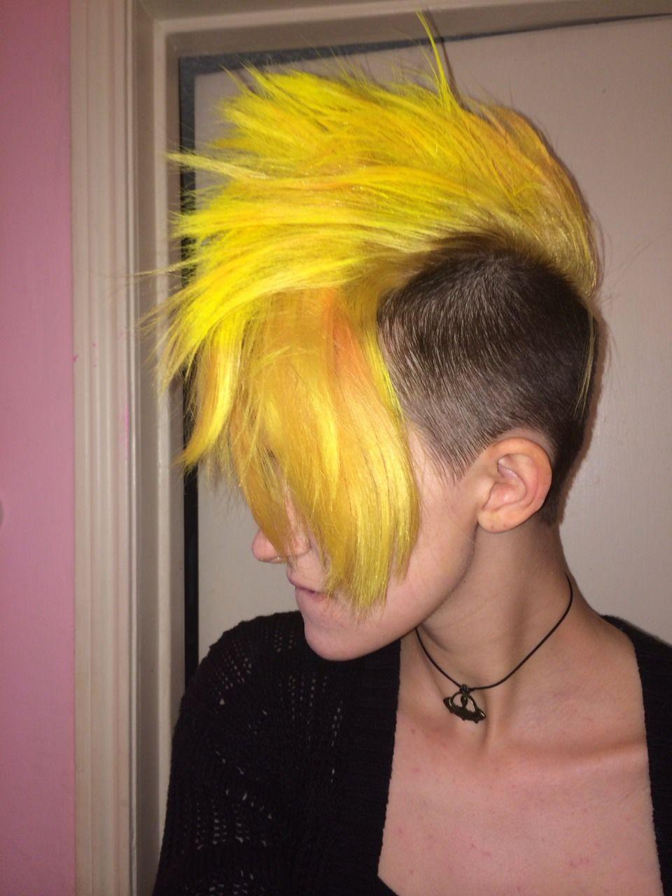 Yellow mohawk hair pinterest mohawks shaved undercut and