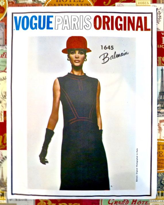 Jahrgang der 1960er Jahre Muster der Balmain-Kleid - Vogue 1645 ...