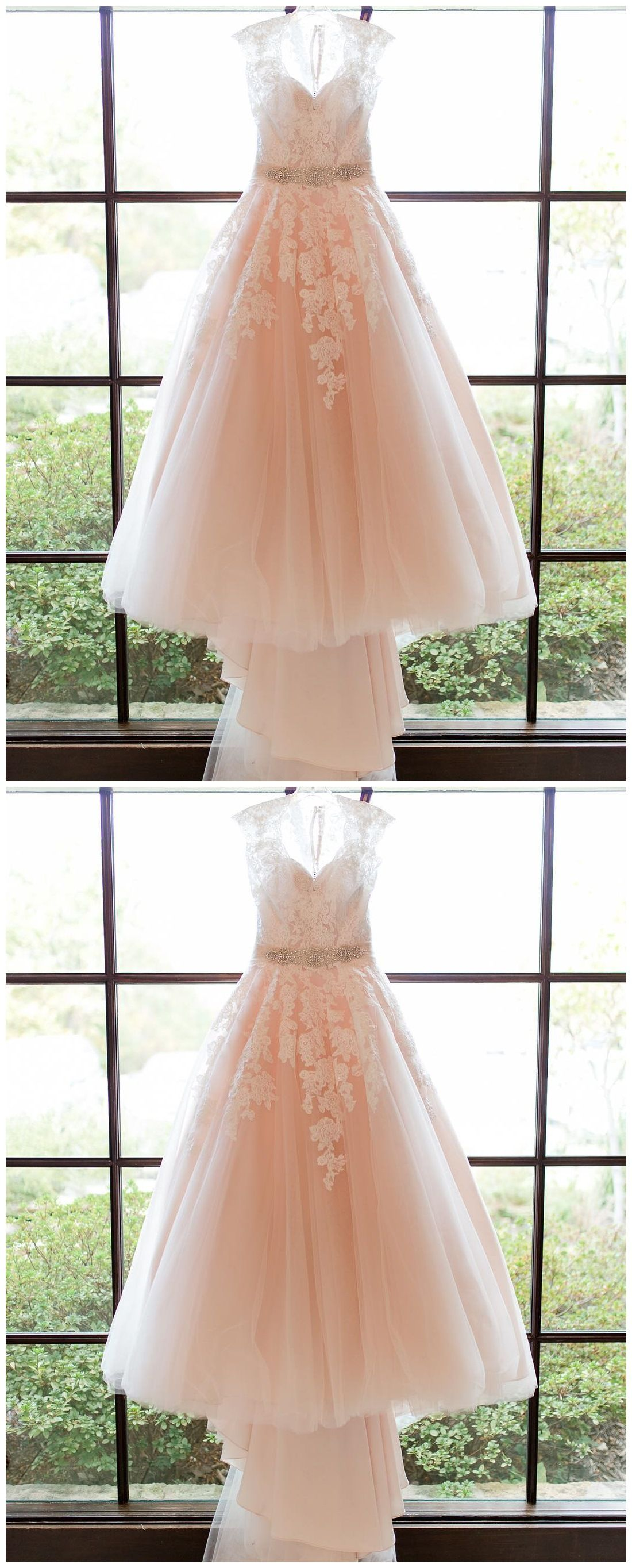 Lace applique blush pink wedding dresses cheap bridal dress ard