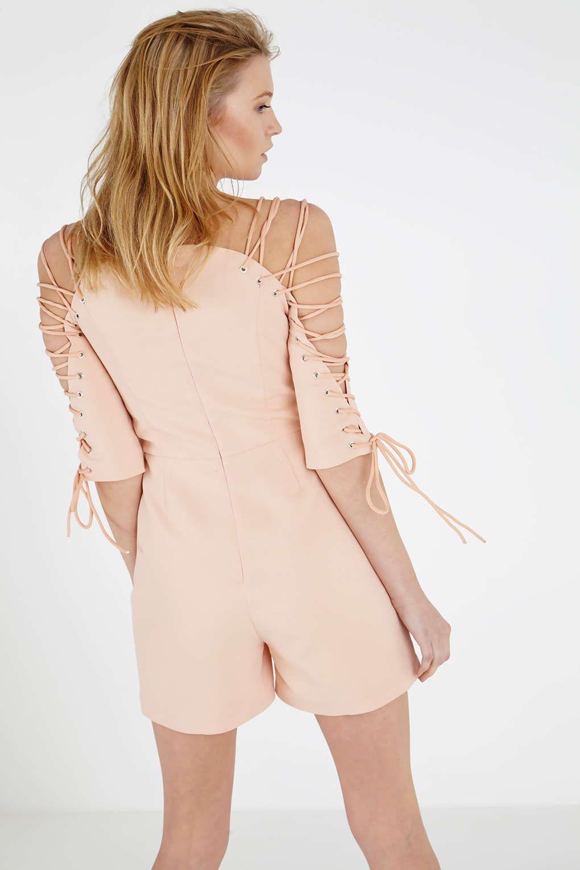 Photo 3 of **Nude Lace Up Sleeve Playsuit by Lavish Alice