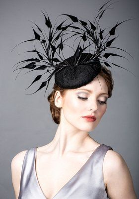 Luxury fascinators and milineries R14W27 - Black lace beret with spike  feathers and jet 8995f1eb5f9