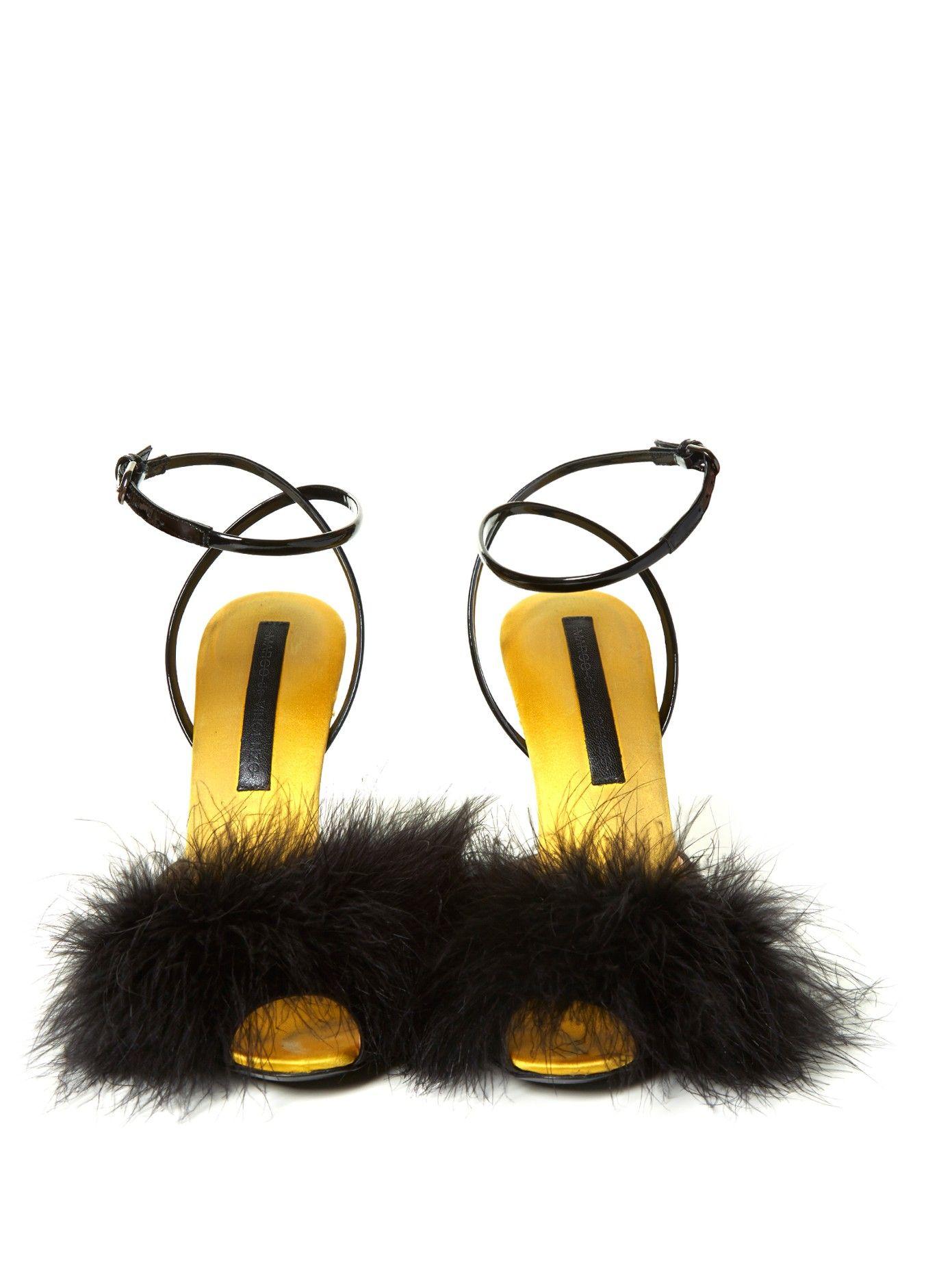 Feather-embellished satin sandals | Marco De Vincenzo | MATCHESFASHION.COM US