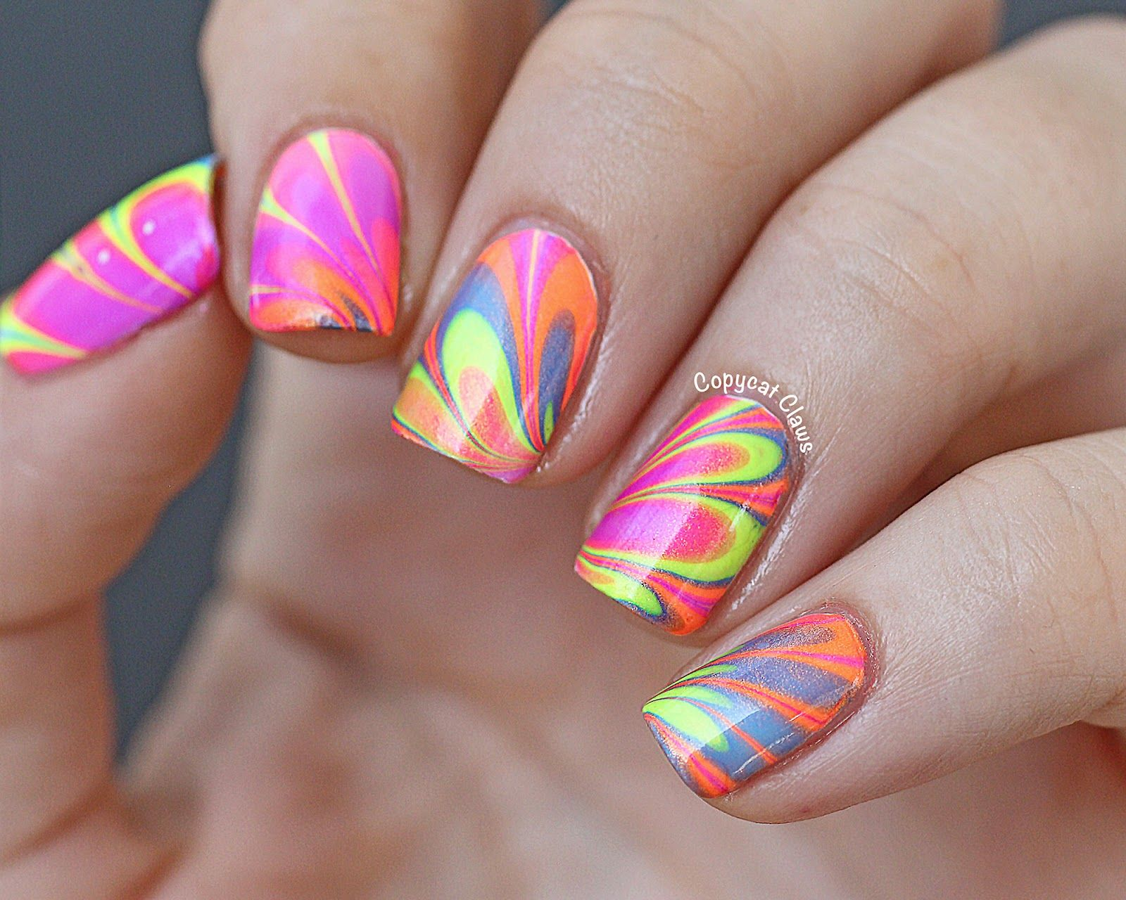 Neon Water Marble Nails | And more NAIL ART... | Pinterest | Water ...