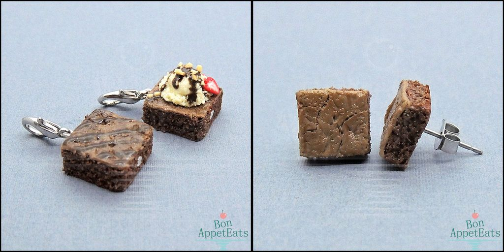 I've made some new brownie items for my shop. :)  There are two new brownie charms available (that you can turn into necklaces!) and a new set of tiny brownie post earrings.  Find them here: bonappeteats.com/
