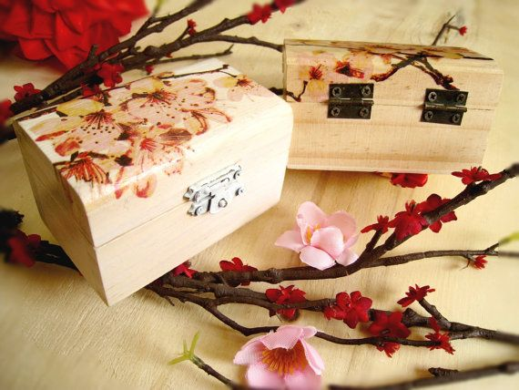 Decorated Wooden Boxes Small Wooden Box With Sakura Cherry Blossomsoulcraftygarden