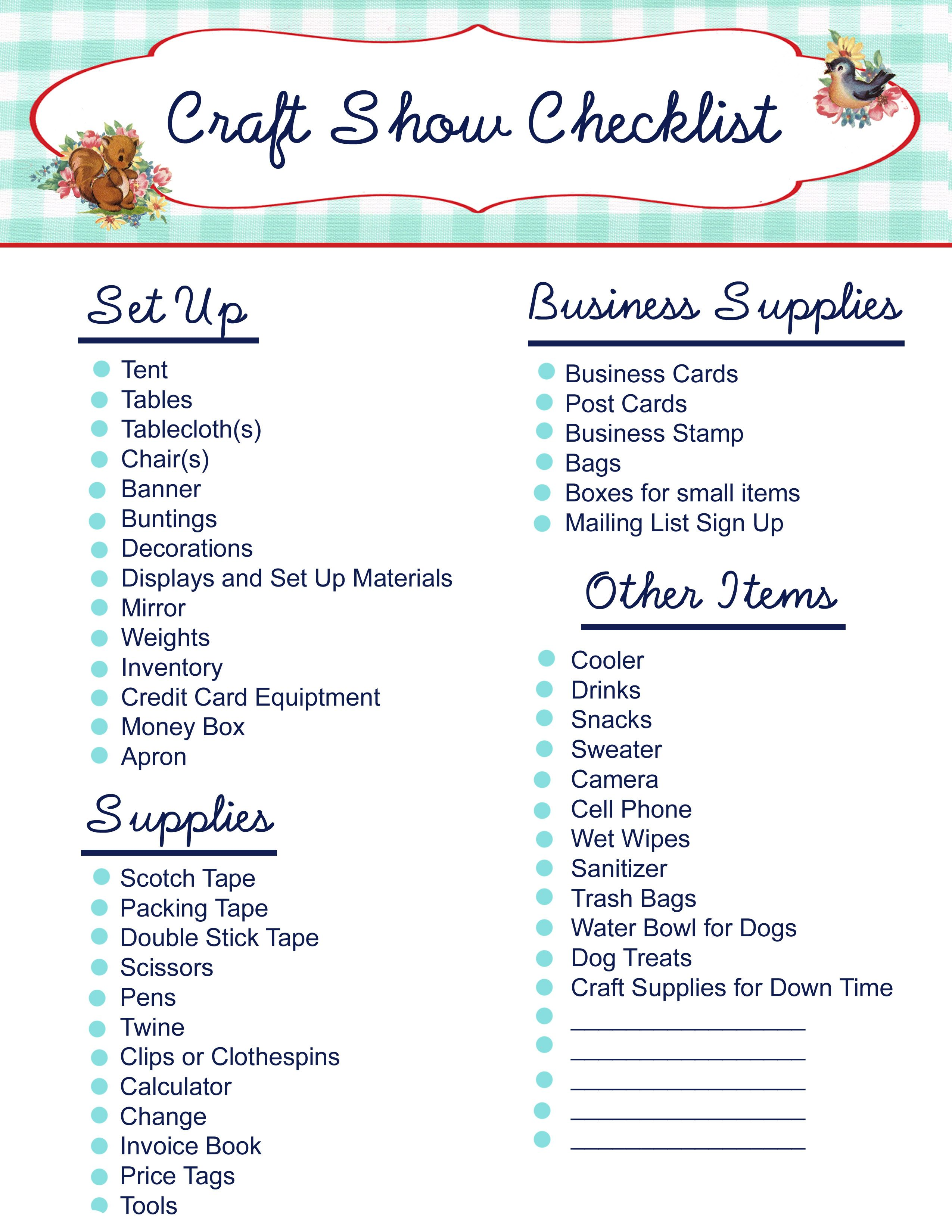 Free Printable Craft Show Checklist