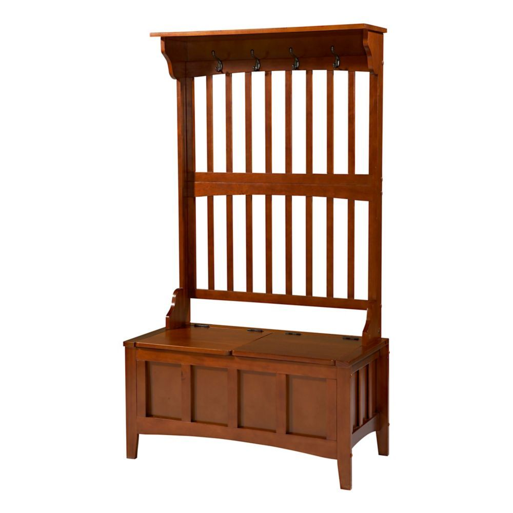 Swell 36 Inch Slat Back Hall Tree With Storage Bench Products Pdpeps Interior Chair Design Pdpepsorg