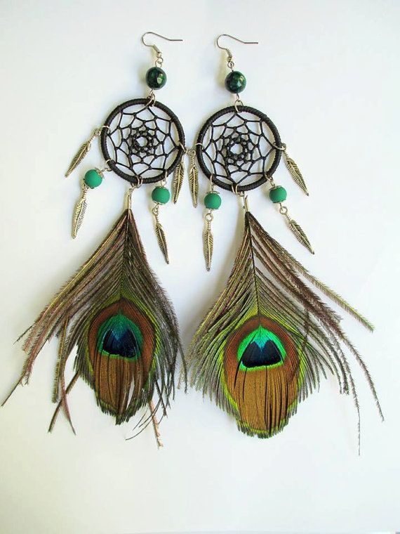 Peacock Feather Dreamcatcher Earrings
