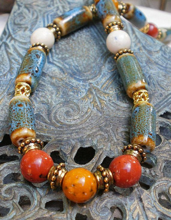 Pottery Bead Necklace by sheradesigns on Etsy
