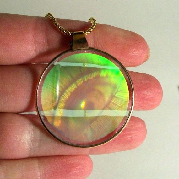 Vintage hologram pendant 1960s eye glass holographic round disc vintage hologram pendant 1960s eye glass holographic round disc circular green mozeypictures Image collections