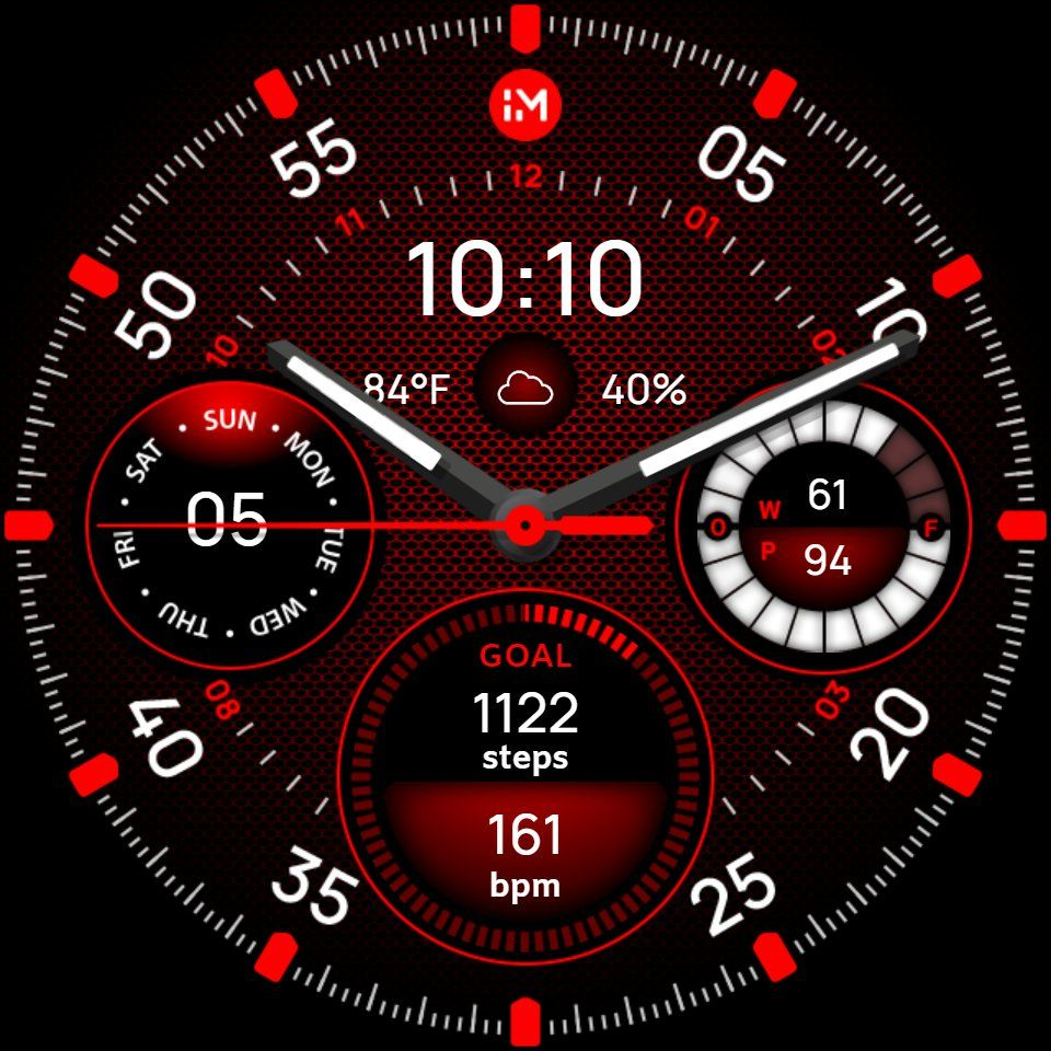 Free watch face with step counter and heart rate. Analog