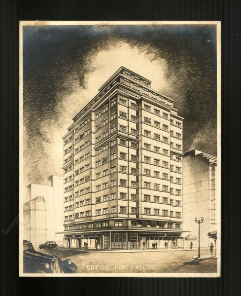 M. ROSENFELD. Fotografia do projeto do Edificio Porto Alegre, no Rio de Janeiro, com carimbo do fotógrafo no verso, c. 1938. 21,5 x 16,9 cm. O prédio se destinava aos escritórios da Lowdes & Sons, Administradores de Bens.