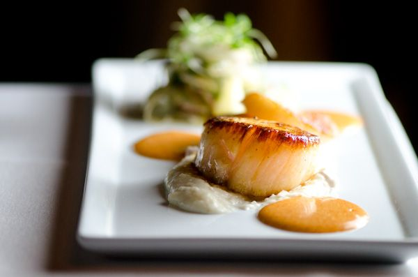 Pan Seared Georges Bank Sea Scallops Country Ham Grits Fennel