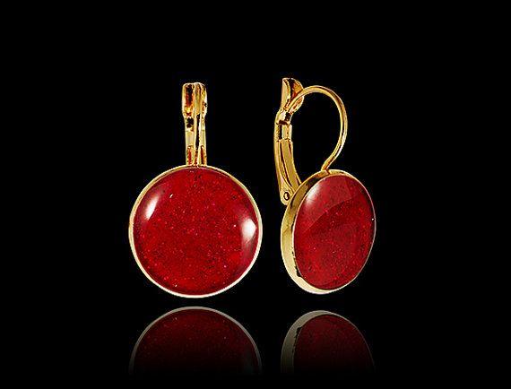 Brilliant red earrings Gold drop earrings Amazing by