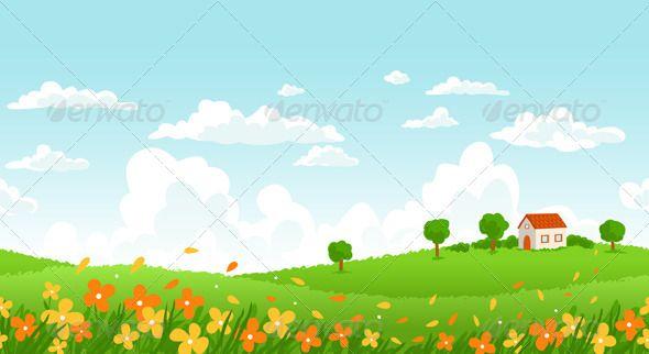 Sunny Day Landscape Nature Vector Landscape Illustration Landscape