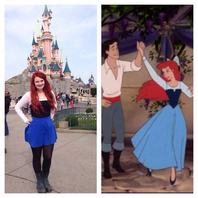 I'm thinking cropped leggings, blue skirt, dark blue.top and white shrug. With my ariel bow birthday present!