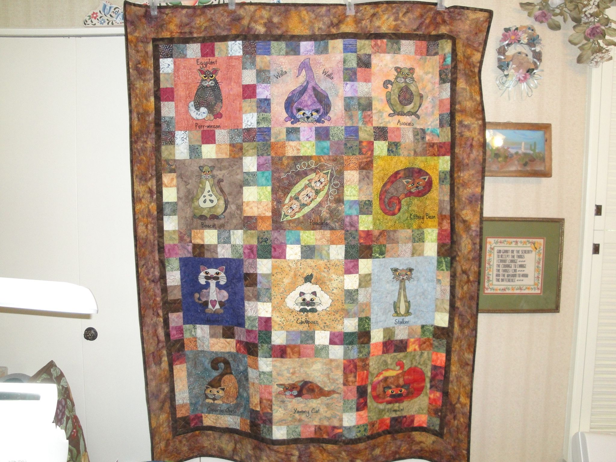 7/20/2013 Veggie Cats Quilt donated to The Cat House on the Kings, Parlier, CA - Raffled in May 2015 & netted $5,000