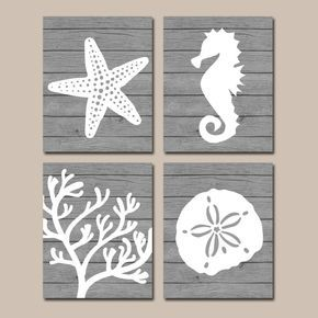 Beach BATHROOM Wall Art, CANVAS Or Prints, Nautical Coastal Bathroom Decor,  Aqua Starfish