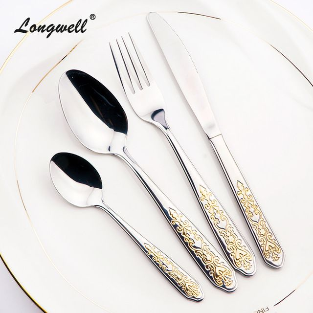 Buy now New Fork Gold Plated Dinnerware Set Western Style Cutlery Sets For Dinner Handle Polish  sc 1 st  Pinterest & Buy now New Fork Gold Plated Dinnerware Set Western Style Cutlery ...