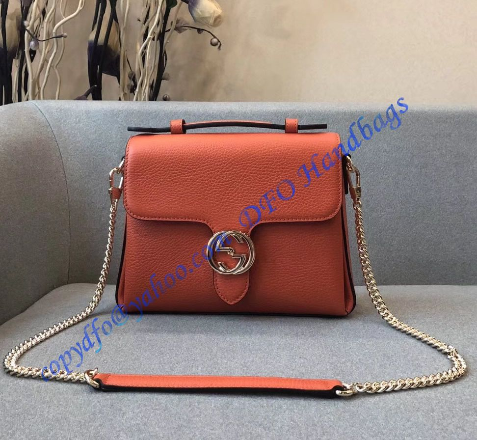 df208052232eb Gucci Interlocking G Buckle Convertible Chain Orange Leather Cross Body Bag