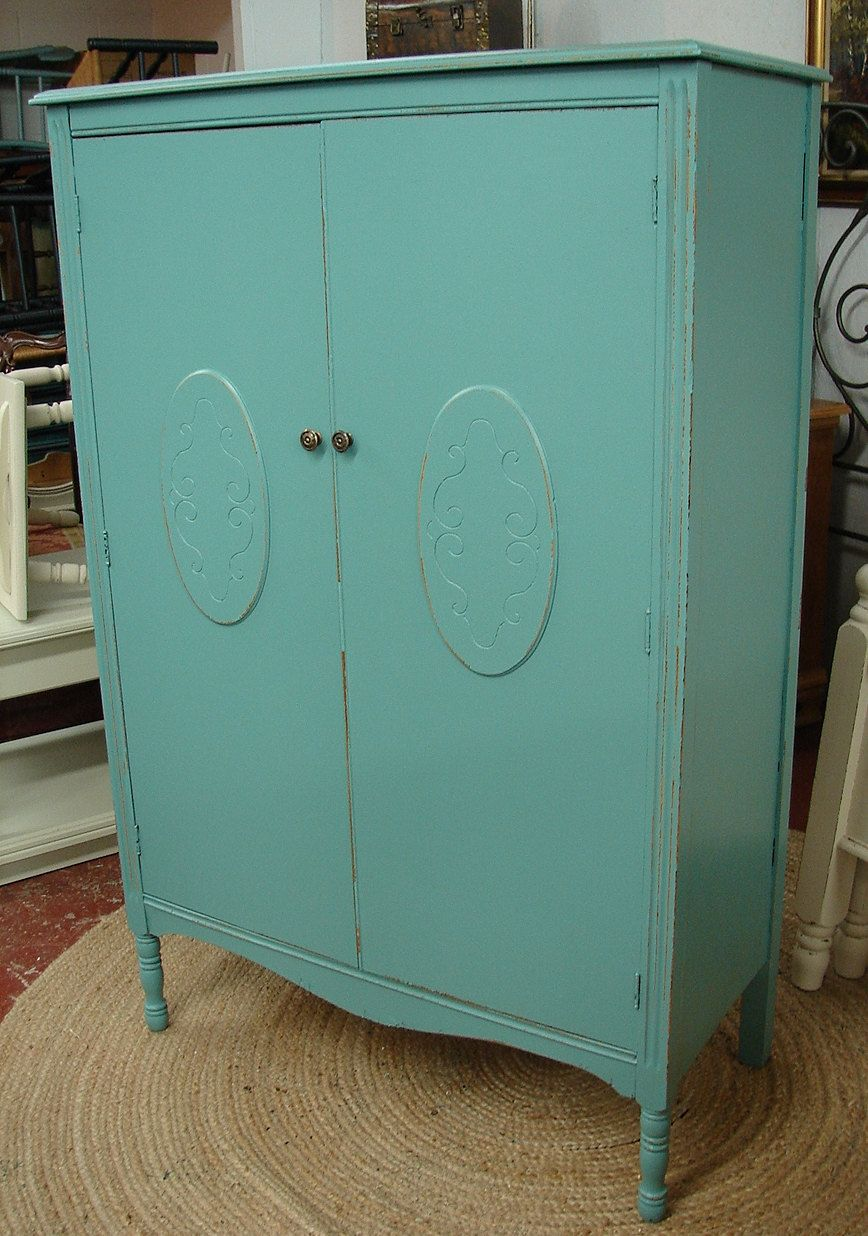 Reclaimed Vintage Robin Egg Blue Painted Armoire Wardrobe Chifferobe  Chifforobe Closet Cabinet (CALL For A