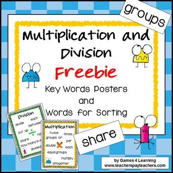 Multiplication and Division Operations Key Words Posters ...
