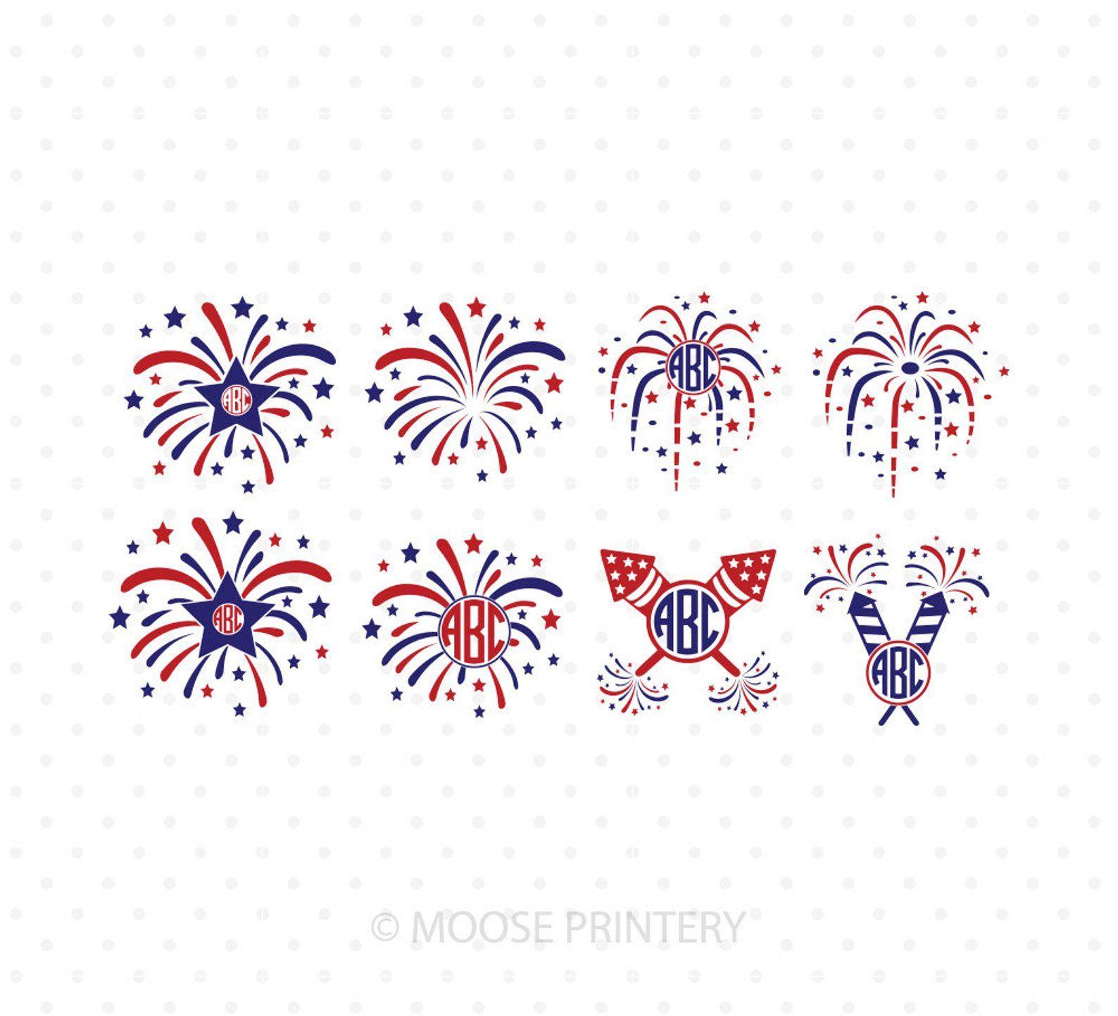 Fireworks Svg Files 4th Of July Svg Firecracker Monogram Svg Independence Day Patriotic Svg Files For Cricut Silhouette Svg Files Fireworks Svg 4th Of July Fireworks Circle Monogram Font