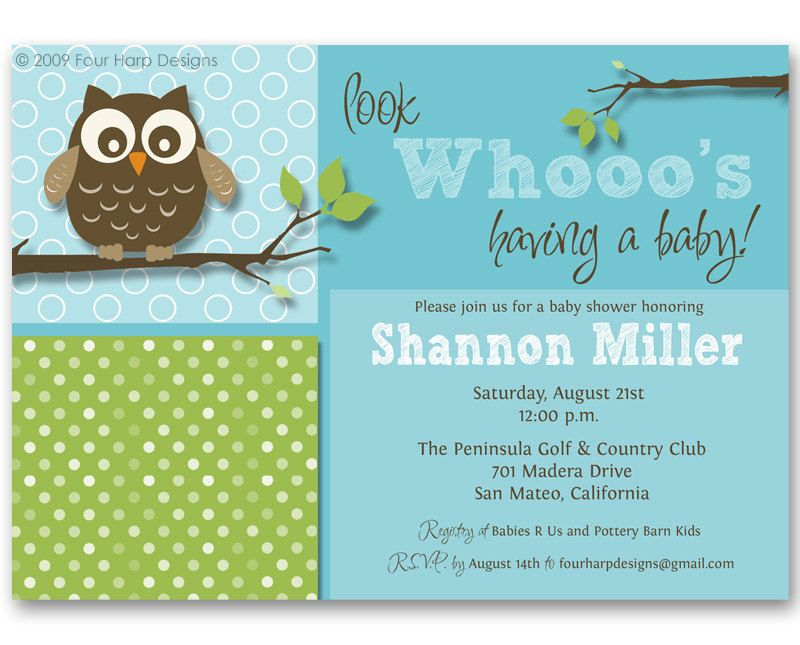 Baby Shower Invitation, Owl invite - Look Whooo\'s Having a Baby ...