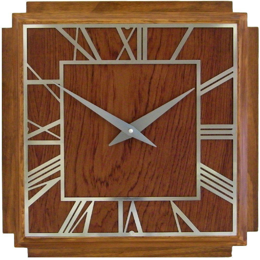 Amazoncom Roger Lascelles A Square Wooden Deco Clock 142Inch